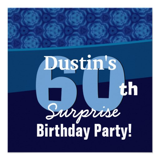 60th Surprise Birthday Hues of Blue G433 Custom Announcements