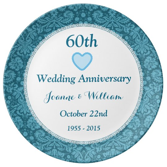 60th Wedding Anniversary Blue Damask and Lace L05C Plate