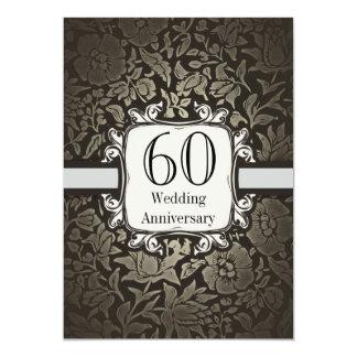 60th wedding anniversary damask vintage invitation