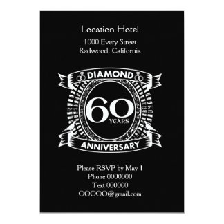 60th wedding anniversary diamond crest card