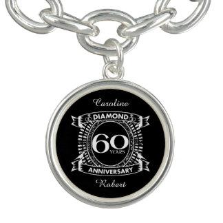 60th wedding anniversary diamond crest charm bracelet