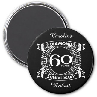 60th wedding anniversary diamond crest magnet
