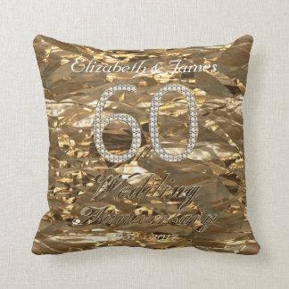 60th Wedding Anniversary Diamond Wedding Gold Chic Throw Pillow