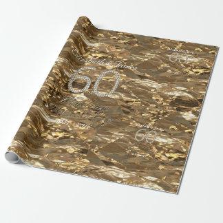 60th Wedding Anniversary Diamond Wedding Gold Chic Wrapping Paper