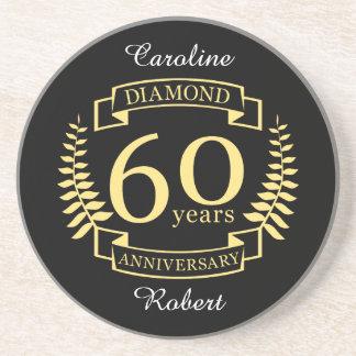 60th Wedding ANNIVERSARY diamond yellow Coaster