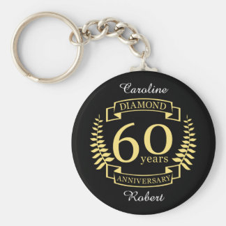 60th Wedding ANNIVERSARY diamond yellow Keychain