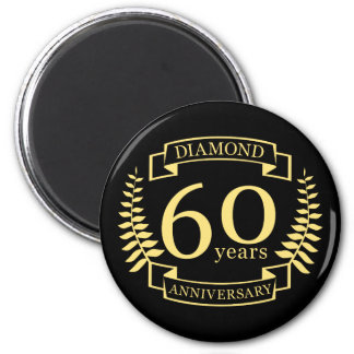 60th Wedding ANNIVERSARY diamond yellow Magnet