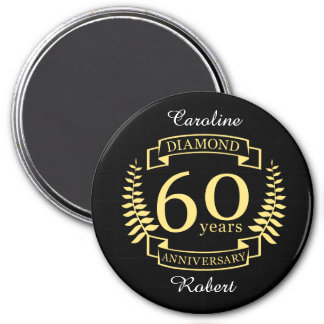 60th Wedding ANNIVERSARY diamond yellow Magnet