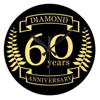 60th Wedding ANNIVERSARY diamond yellow Wallclocks