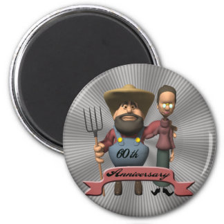 60th Wedding Anniversary Gifts 2 Inch Round Magnet