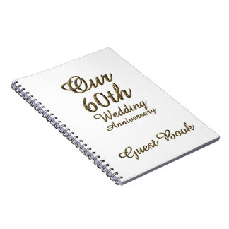 60th Wedding Anniversary Guest Book Gold White
