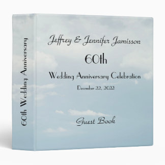 60th Wedding Anniversary Guest Book, Pale Sky 3 Ring Binders