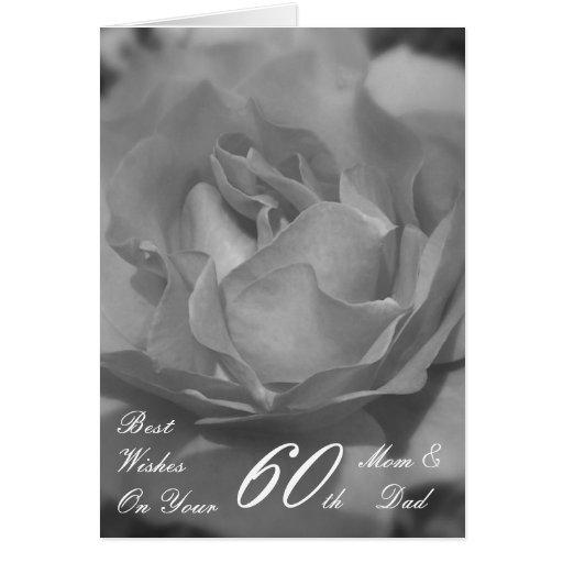 60th Wedding Anniversary Mom & Dad Black & White R Card