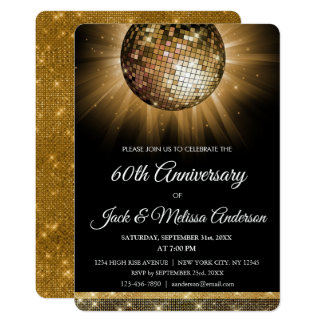 60th Wedding Anniversary Party Gold Disco Ball Card