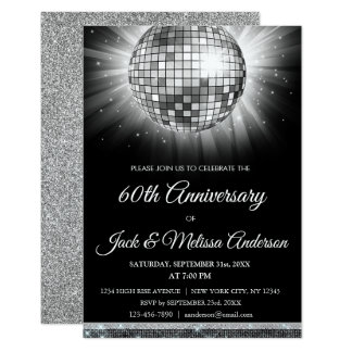 60th Wedding Anniversary Party Silver Disco Ball Card