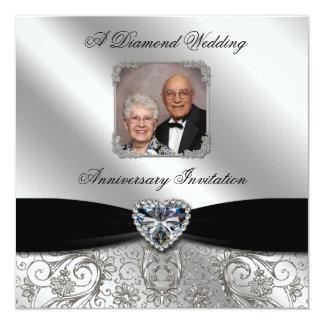 """60th Wedding Anniversary Photo Invitation Card 5.25"""" Square Invitation Card"""
