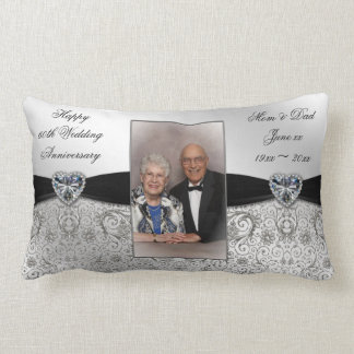 60th Wedding Anniversary Photo Lumbar Throw Pillow