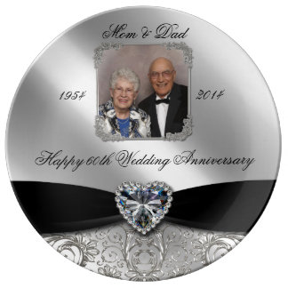 60th Wedding Anniversary Photo Porcelain Plate
