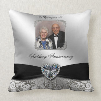 60th Wedding Anniversary Photo Throw Pillow