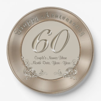 60th Wedding Anniversary Plates with NAMES, DATE