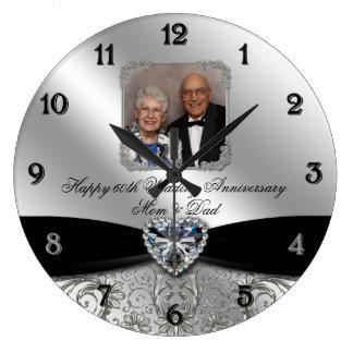 60th Wedding Anniversary Round Photo Wall Clock