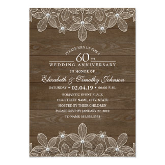 60th Wedding Anniversary Rustic Wood Country Lace Card