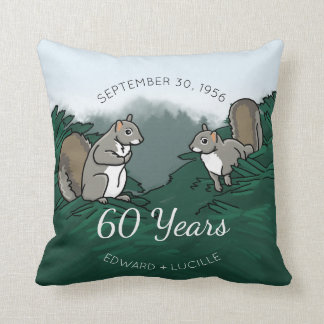60th Wedding Anniversary Squirrels Throw Pillow