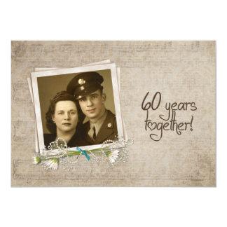 "60th Wedding Anniversary Vow Renewal 5"" X 7"" Invitation Card"
