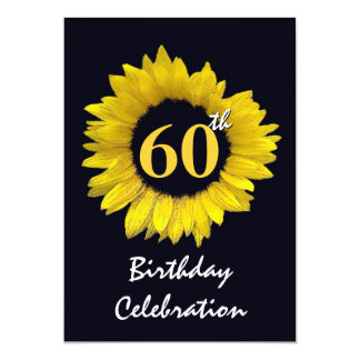 60th Years Yellow Sunflower Birthday Party Card