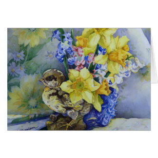 6296 Daffodils in Bird Planter Greeting Card