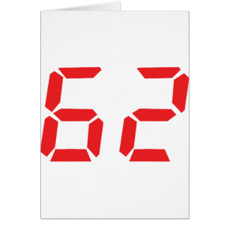 62 sixty-two red alarm clock digital number card