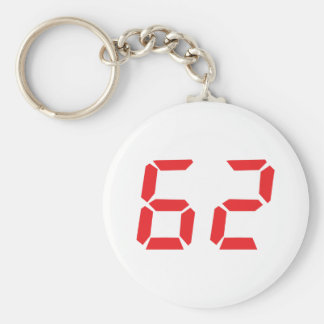 62 sixty-two red alarm clock digital number keychain