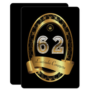 62nd,birthday party woman man,elegant color card
