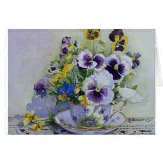 6300 Pansies in Teacup Birthday Card