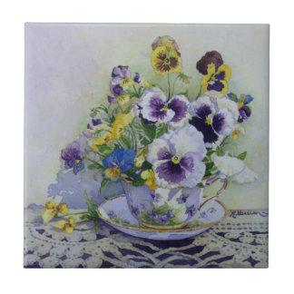6300 Pansies in Teacup Tile