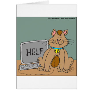 631 computer mouse help cartoon greeting card
