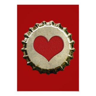 """6375_red-heart-bottle-cap-topGraphic RED HEART BOT 5"""" X 7"""" Invitation Card"""