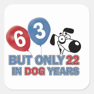 63 year old design square sticker