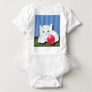 63White Cat_rasterized Baby Bodysuit