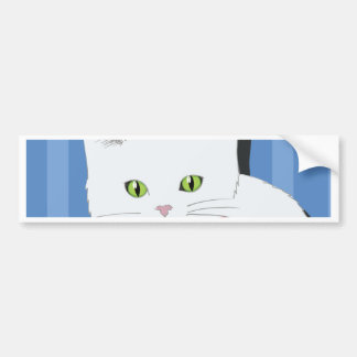63White Cat_rasterized Bumper Sticker