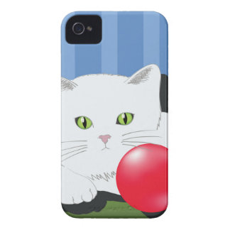 63White Cat_rasterized iPhone 4 Case-Mate Cases