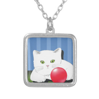 63White Cat_rasterized Silver Plated Necklace