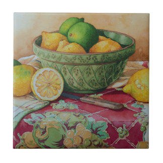 6468 Lemons and LInes in Green Bowl Tile
