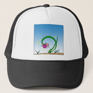 647 upside down snail cartoon trucker hat