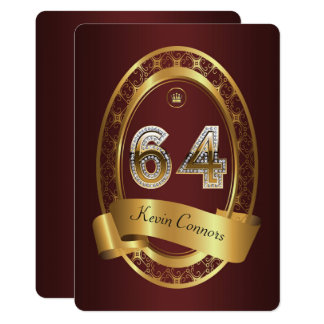 64th,birthday party woman man,elegant color card