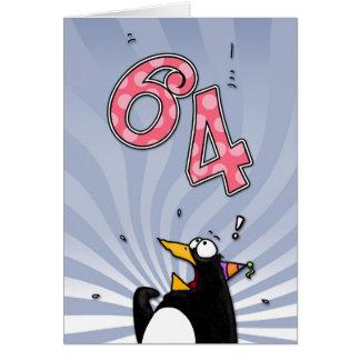64th Birthday - Penguin Surprise Card