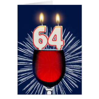 64th Birthday with wine and candles Card