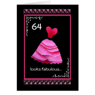 64th Fabulous Birthday with Pink Dress Card