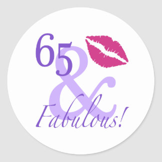 65 And Fabulous Classic Round Sticker