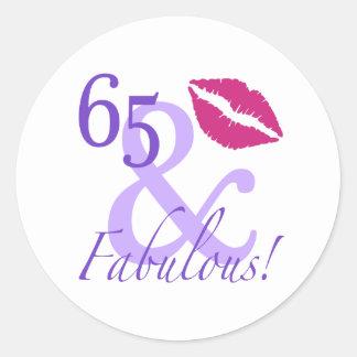 65 And Fabulous Round Sticker